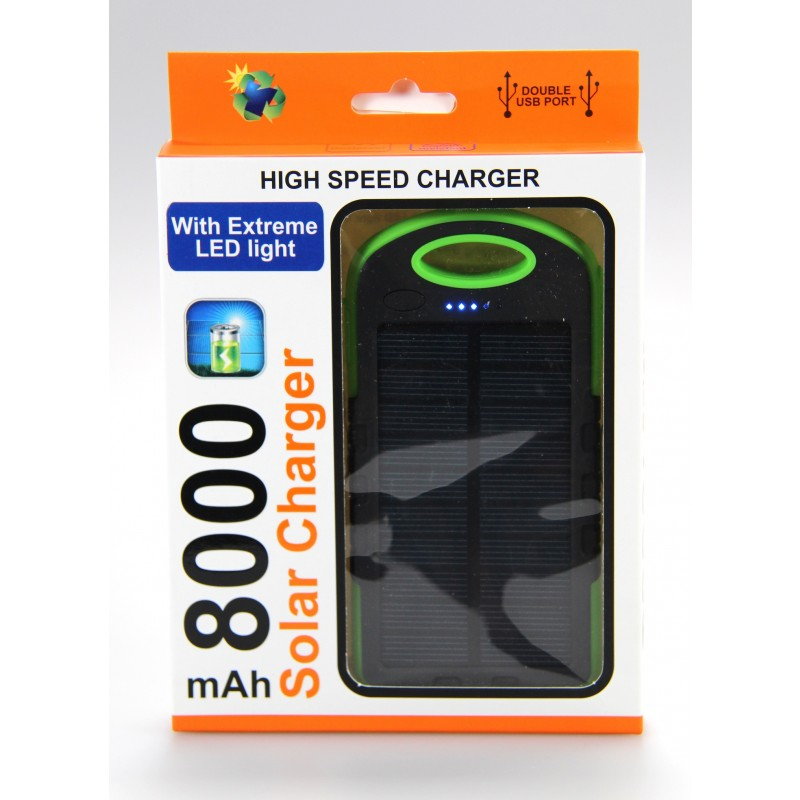 Solar charger - High Speed charger with Extreme LED light 8000 mAh