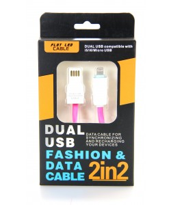 2 in 2 Dual USB Flat  Led Cable