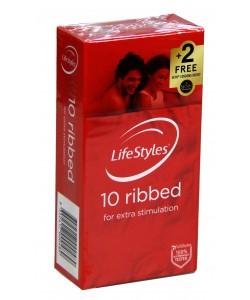 Ansell 10pk Ribbed +2 FREE Skyn