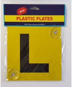 L Plate plastic yellow